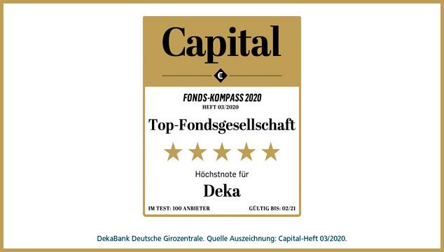 Capital-Fonds-Kompass: Deka erneut mit Bestnote ausgezeichnet