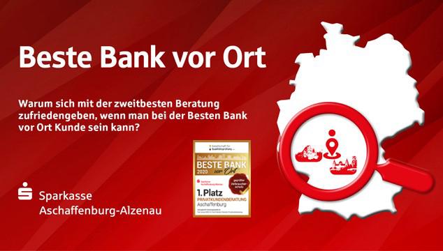 Beste Bank in Aschaffenburg 2020 – Sparkasse Aschaffenburg-Alzenau verteidigt erneut Titel